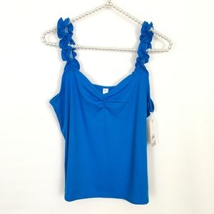 BP blue tank top ruffled straps cinched chest L